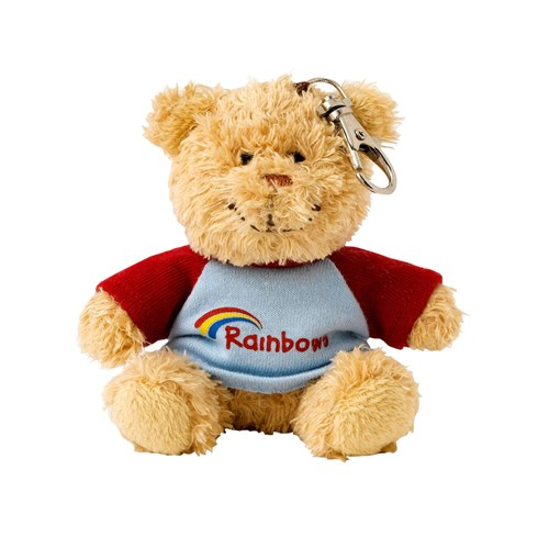 Rainbows teddy bear in t-shirt key ring