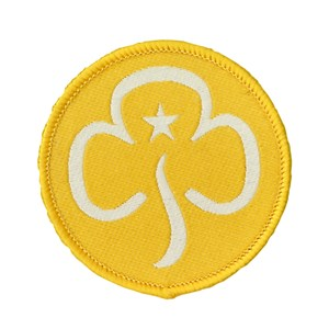 Brownies promise yellow trefoil woven badge