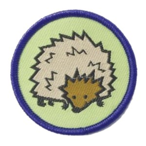 Brownies hedgehog six emblem woven badge