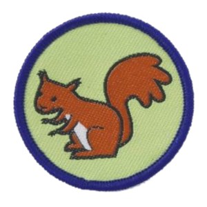 Brownies squirrel six emblem woven badge
