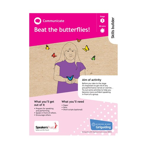 Communicate skills builder stage 3 Beat the butterflies activity resource