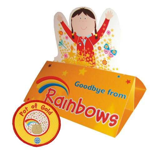 Goodbye from Rainbows pop up card and woven pot of gold badge