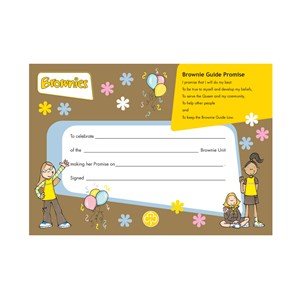 Brownies Old programme promise badge certificate