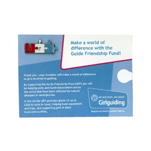 Guide Friendship Fund metal pin badge and card