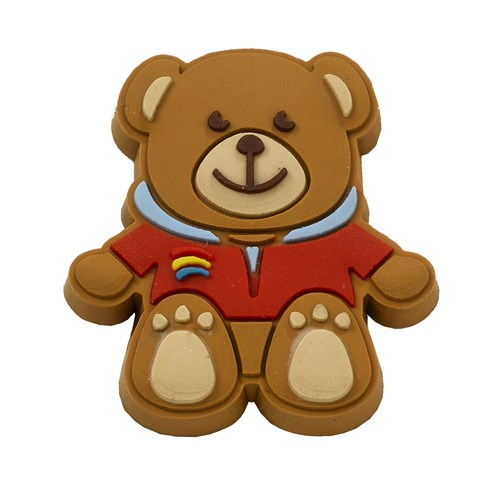 Rainbows teddy bear rubber pin badge