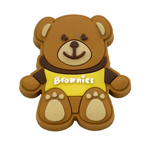 Brownies teddy bear wearing t-shirt pin badge