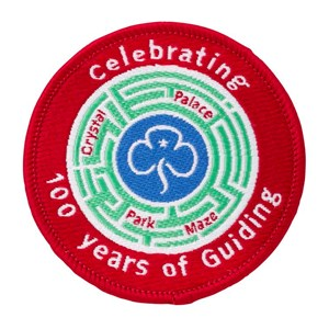 Celebrating 100 years of guiding crystal palace park maze woven badge