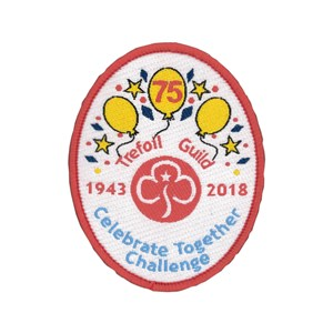 Trefoil Guild 75th anniversary challenge woven badge