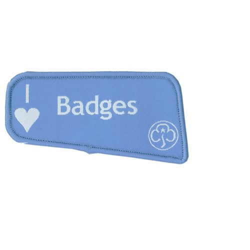 I heart love badges woven blue