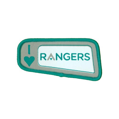 I heart love rangers logo woven badge