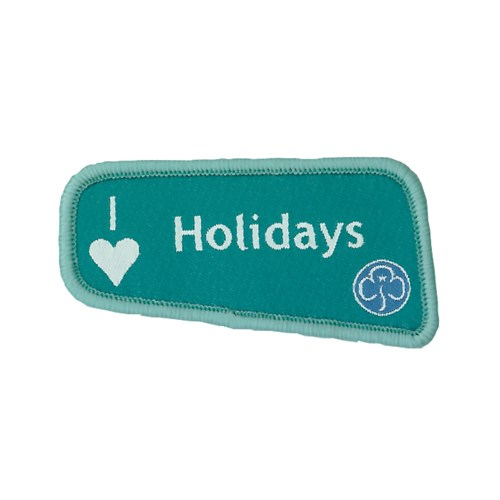 I heart love holidays teal woven badge