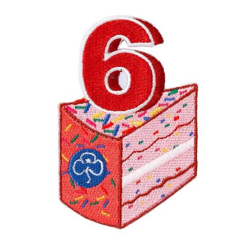 6 birthday cake woven badge