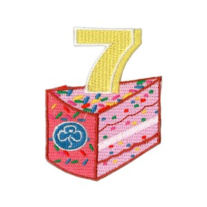 7 birthday cake woven badge
