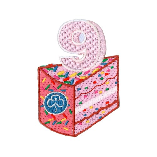 9 birthday cake woven badge