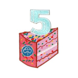5 birthday cake woven badge