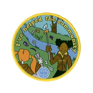 Brownies helping the community woven fun badge