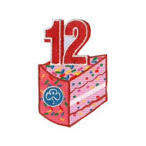 12 birthday cake woven badge