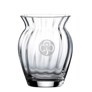 Dartington Crystal tulip vase with engraved trefoil
