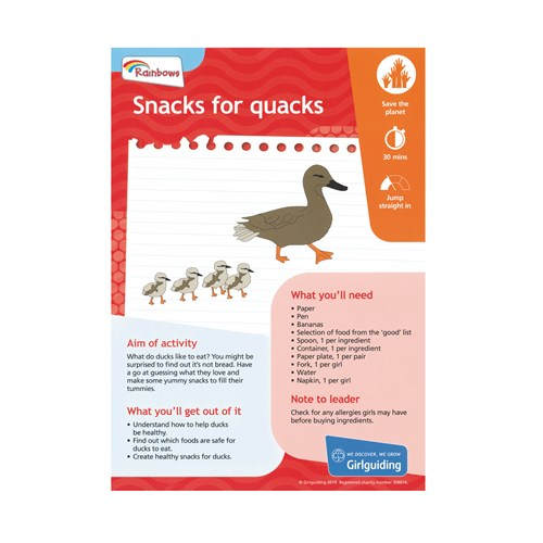 Rainbows unit meeting activity take action snacks for quacks