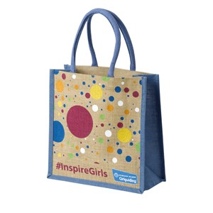 Girlguiding #inspiregirls jute bag with spotted pattern