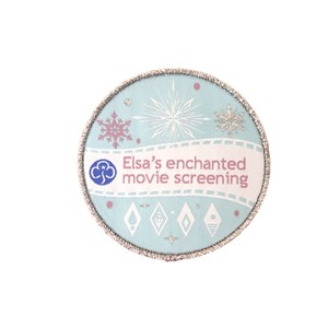 Blue and silver with sparkle thread Elsa movie badge