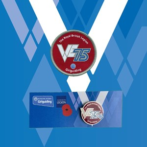 VE day 75th woven and metal badges on blue and white background