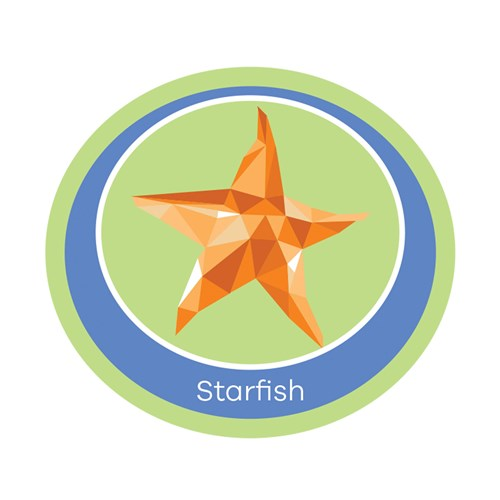 Starfish emblem woven badge