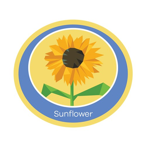 Sunflower emblem woven badge