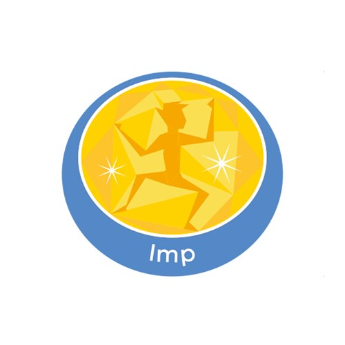 Imp emblem metal badge