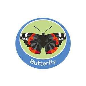 Butterfly emblem metal badge