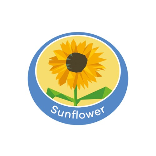 Sunflower emblem metal badge