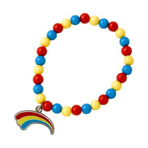 Multi coloured bead bracelet with rainbow charm